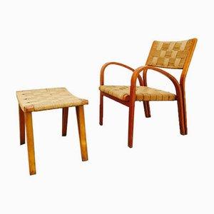 Raffia Sofa und Stühle, 1960er, 5er Set