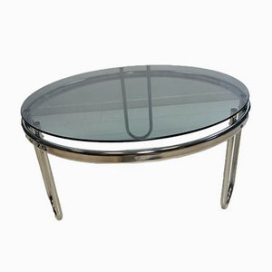 Vintage Italian Smoked Glass Round Coffee Table with Chromed Base, 1970s