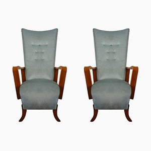 Armchairs in Blue Velvet, 1950s, Set of 2