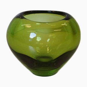 Vase Heart Vert Mid-Century en Verre par Per Lütken pour Holmegaard, 1960s