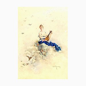 Musician Watercolor by Cécile Chenneviere, 1851