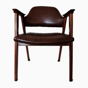 Teak and Leatherette Armchair by Jaime Casadesus for Guilleumas, 1960s