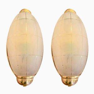 Vintage Art Deco Deckenlampen, 2er Set