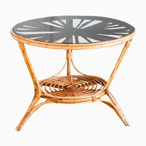 French Rattan Side Table, 1960s