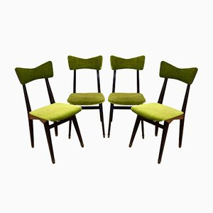 Italian Wood and Velvet Dining Chairs from Francor, 1950s, Set of 4