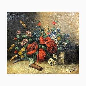 Antikes Stillleben mit Blumen und das Sichel-Gemälde von Elisabeth Grandin