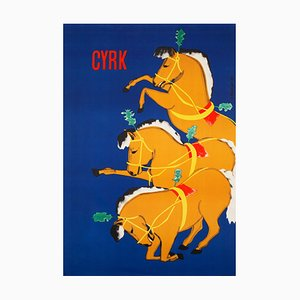 CYRK Bowing Horses Poster by Boleslaw Penciak, 1960s