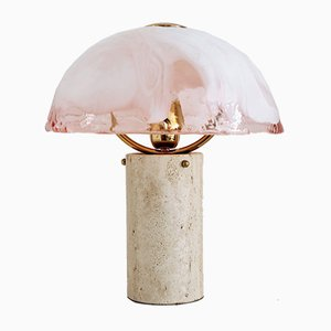 Italian Murano Glass and Travertine Marble Table Lamp from La Murrina, 1970s