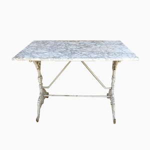 19th-Century French Marble Top Cast Iron Garden Table