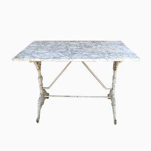Mesa de jardín francesa de hierro fundido con tablero de mármol, siglo XIX