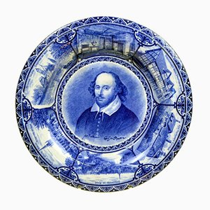 Blue and White Souvenir Plate with Portrait of William Shakespeare by Samuel Hancock & Sons, 1904