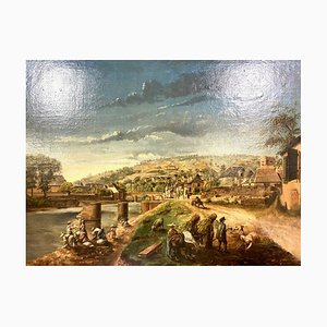 Antique French School Village Life Painting