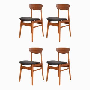 Mid-Century Danish Teak & Leather Dining Chairs, 1960s, Set of 4