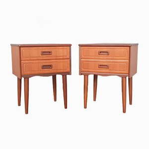 Norwegian Teak Wood Nightstands, 1960s, Set of 2