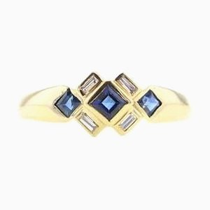 Gold Ring with Diamonds and Sapphires, 2000s