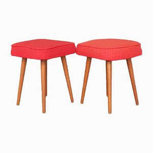 Walnut & Red Cloth Ottomans, 1970s, Set of 2