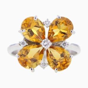 Citrin Ring mit Diamant Blüte, 2000er