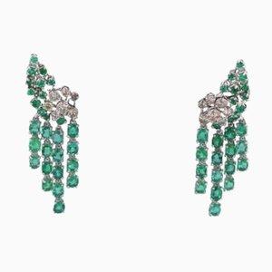 Boucles d'Oreilles Vintage en Or avec Diamants et Émeraudes