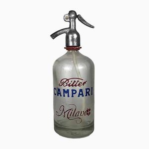 Italian Seltzer Bottle with Bitter Campari Milano Logo, 1950s