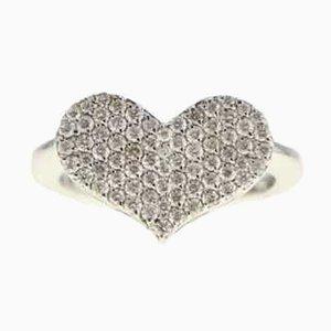 Anillo en forma de corazón con oro blanco y diamantes, década de 2000
