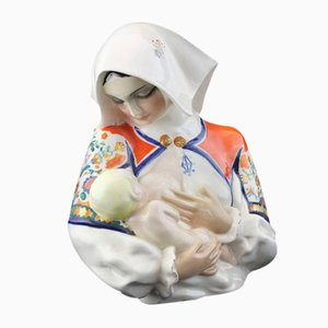 Vintage Mutter mit Baby Keramik von Sandro Vacchetti