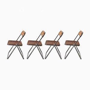 Mid-Century Pila Cane Dining Chairs by Giancarlo Piretti for Castelli / Anonima Castelli, Set of 4