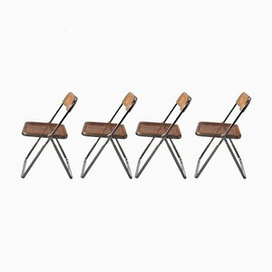Mid-Century Plia Cane Dining Chairs by Giancarlo Piretti for Castelli / Anonima Castelli, Set of 4