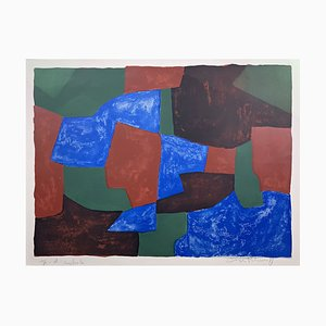 Lithograph in Blue, Green and Red by Hans Hartung for Serge Poliakoff, 1961
