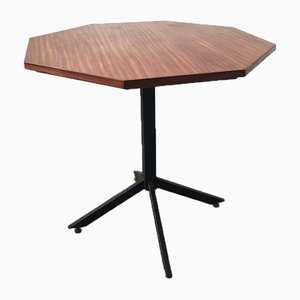Mid-Century Hexagonal Rosewood Dining Table with Black Iron Structure