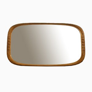 Rectangular Carved Wood and 24kt Gold Mirror by Osvaldo Borsani for Atelier Borsani Varedo, 1950s