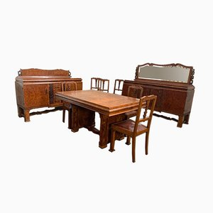 Art Deco Briar Living Room Set, 1930s, Set of 11