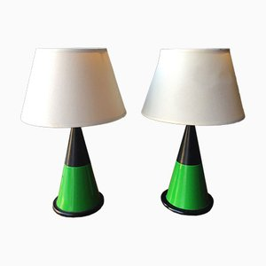 Vintage Table Lamps with Green Conical Shapes from Zonca, Set of 2
