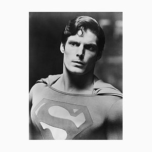 Christopher Reeve Superman Archival Pigment Print Framed in White from Galerie Prints