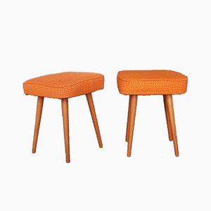 Mid-Century Zen Walnut and Orange Fabric Ottomans, Set of 2