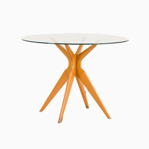 Italian Round Glass Dining Table in the Style of Ico Parisi for Ariberto Colombo, 1950s