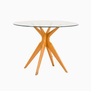 Tavolo da pranzo rotondo in vetro nello stile di Ico Parisi per Ariberto Colombo, Italia, anni '50