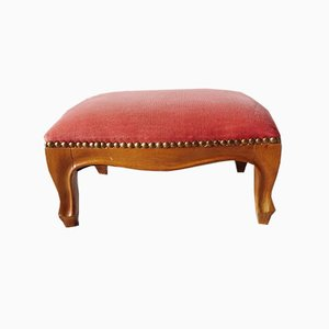 Small Ottoman With Pink Velvet Upholstery, 1960s