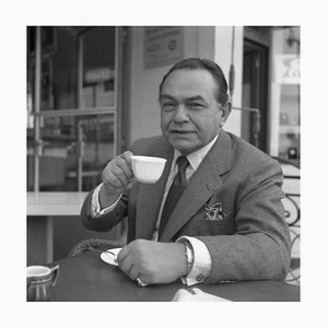 Edward G. Robinson Gangster Coffee Archival Pigment Print Framed in Black from Galerie Prints