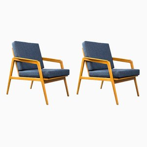 Beech and Blue Fabric Lounge Chairs from Drevotex, 1960s, Set of 2