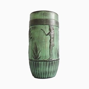 Large Floor Vase In Green Black With Pharaoh's Relief