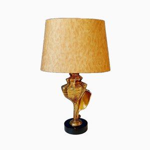 Hollywood Regency Brass Shell Table Lamp, 1970s