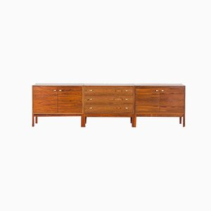 Danish Rosewood 3-Piece Sideboard with Brass Handles, 1960s