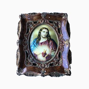 Vintage Wood Frame with Religious Painting