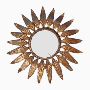 Gilt Metal Sunburst Mirror, 1950s