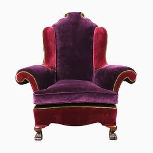 Large Antique Queen Anne Style Armchair