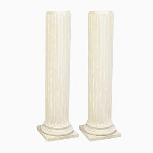 Vintage Plaster Columns, Set of 2