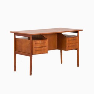 Danish Freestanding Teak Desk by Gunnar Nielsen Tibergaard for Tibergaard, 1960s