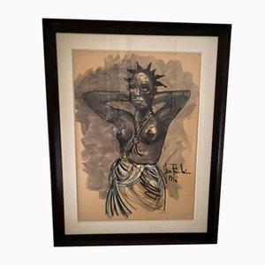 Charcoal Gouache Zeichnung von Poulain Jean, 1947