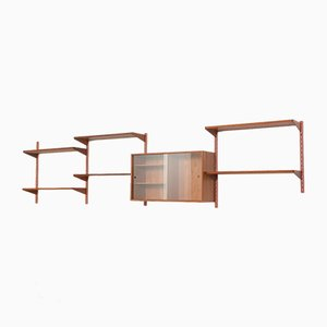 Danish Wall Unit in Teak with Glass Sliding Door Cabinet by Kai Kristiansen for FM Møbler, 1960s