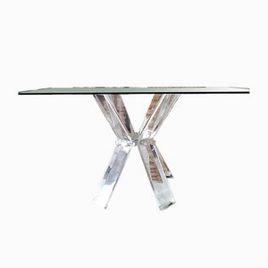 Vintage American Lucite, Chrome & Glass Desk, 1970s